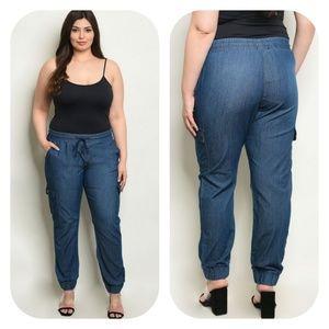 Plus Size Denim Blue Jogger Pant
